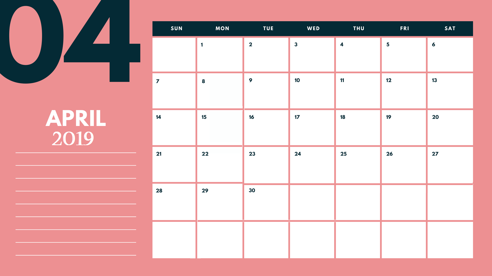 2019 April Calendar Template