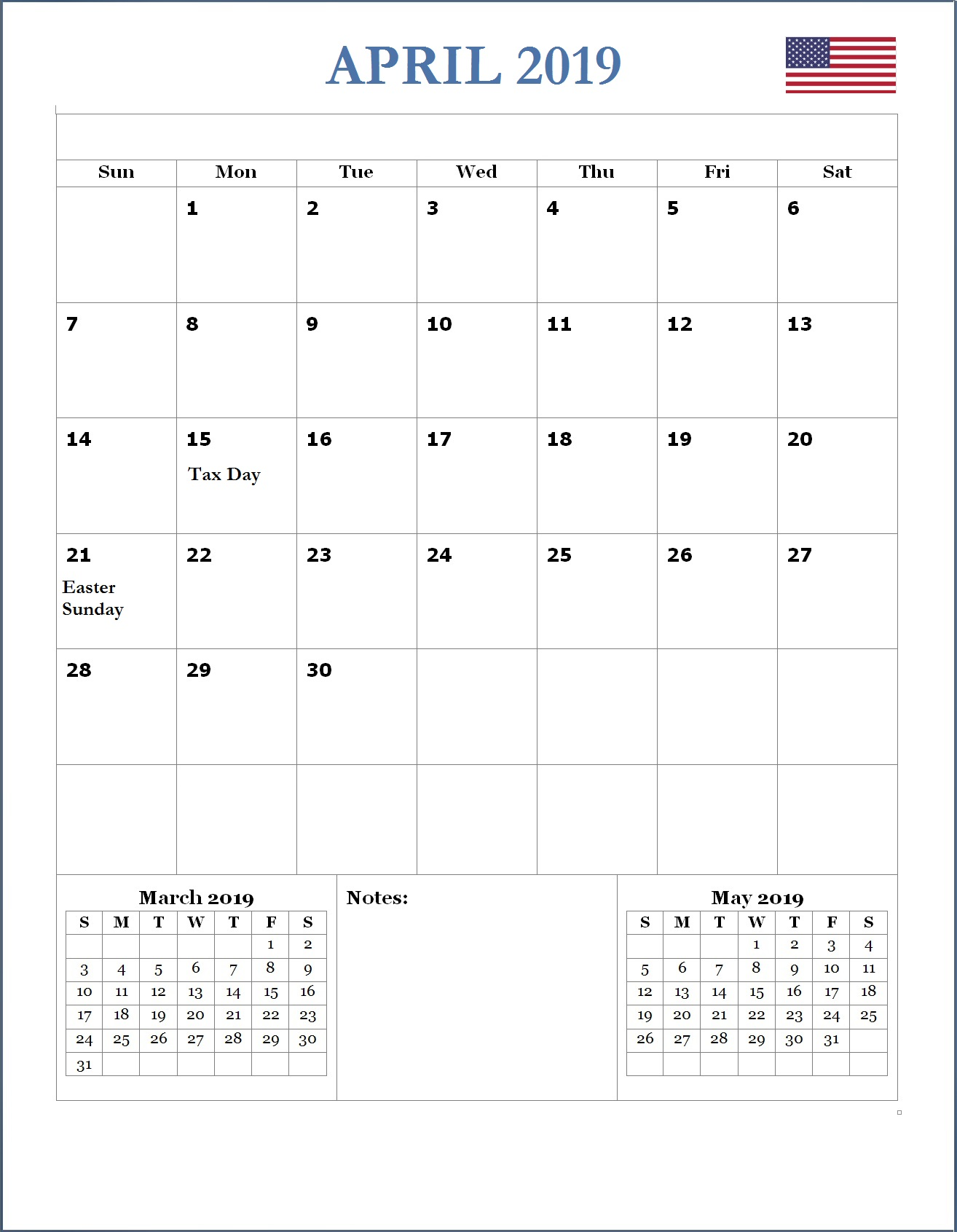 2019 April USA Holidays Calendar