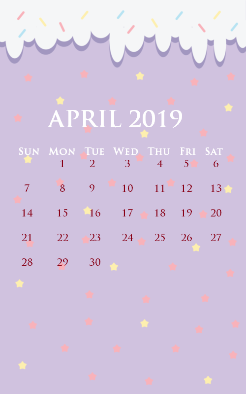 2019 April iPhone Calendar Wallpaper