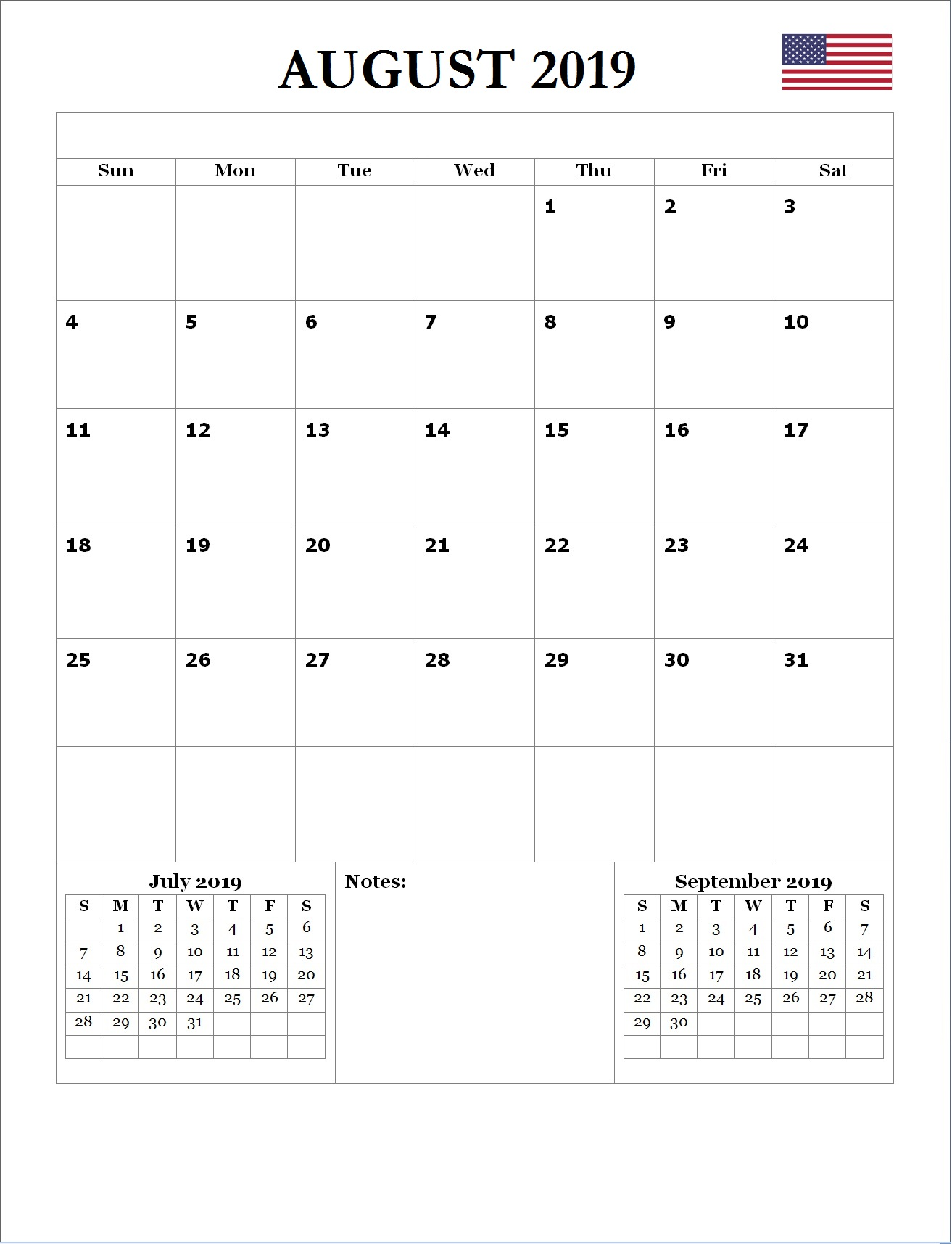 2019 August USA Holidays Calendar
