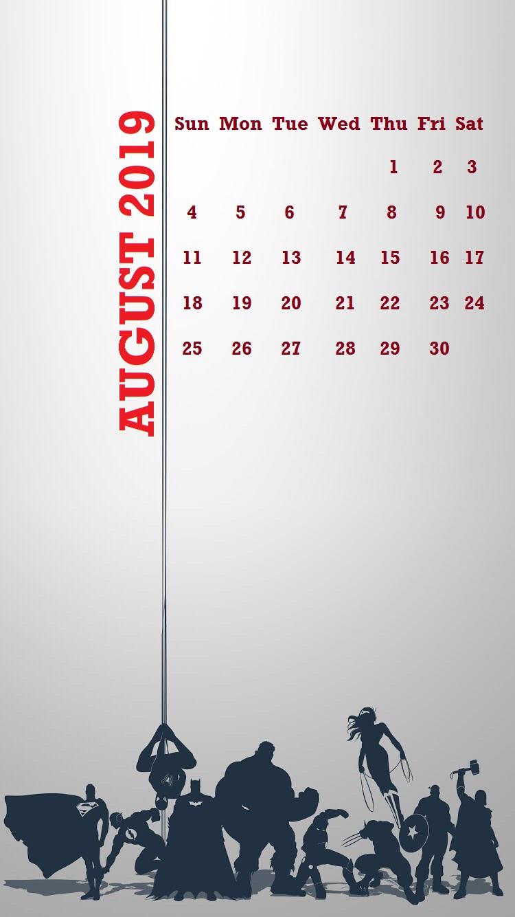 2019 August iPhone Calendar Wallpaper