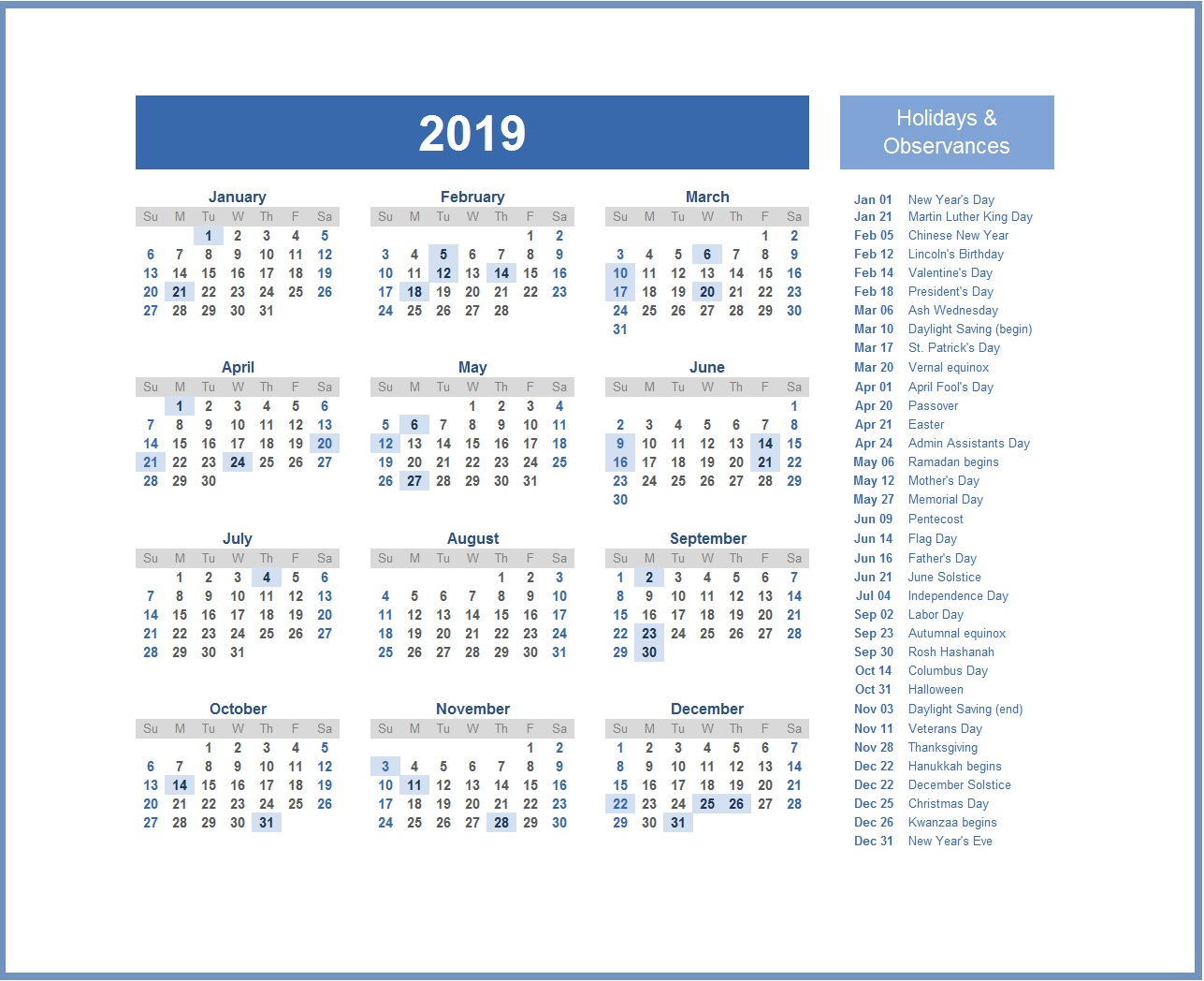 2019 Calendar with USA Holidays