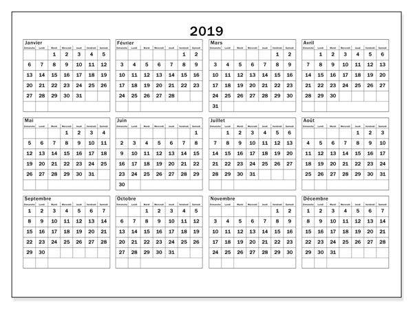 2019 Calendrier PDF
