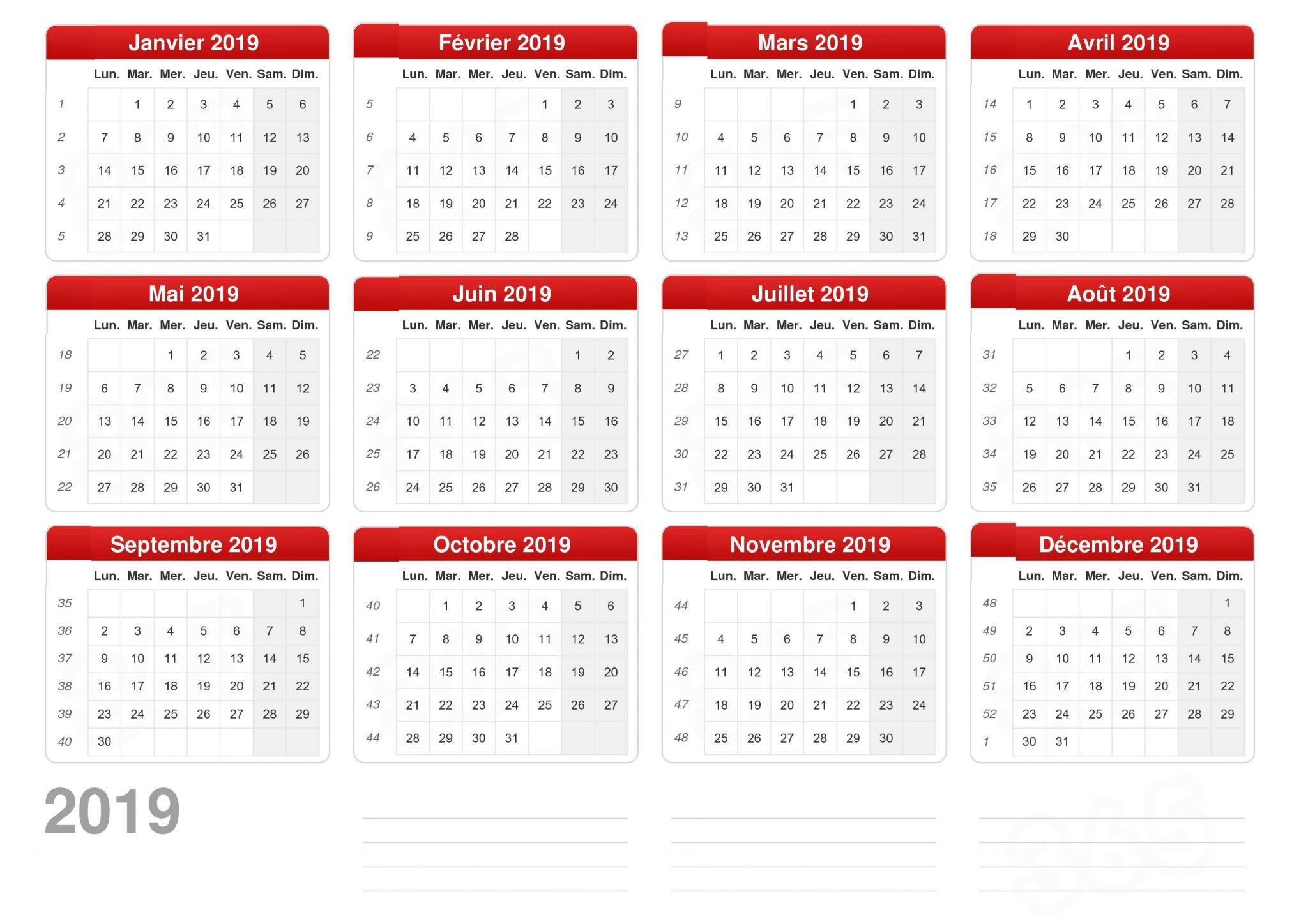 calendrier 2019 vacances scolaires