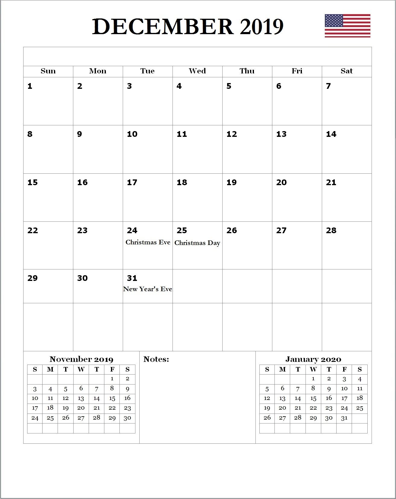 2019 December USA Holidays Calendar