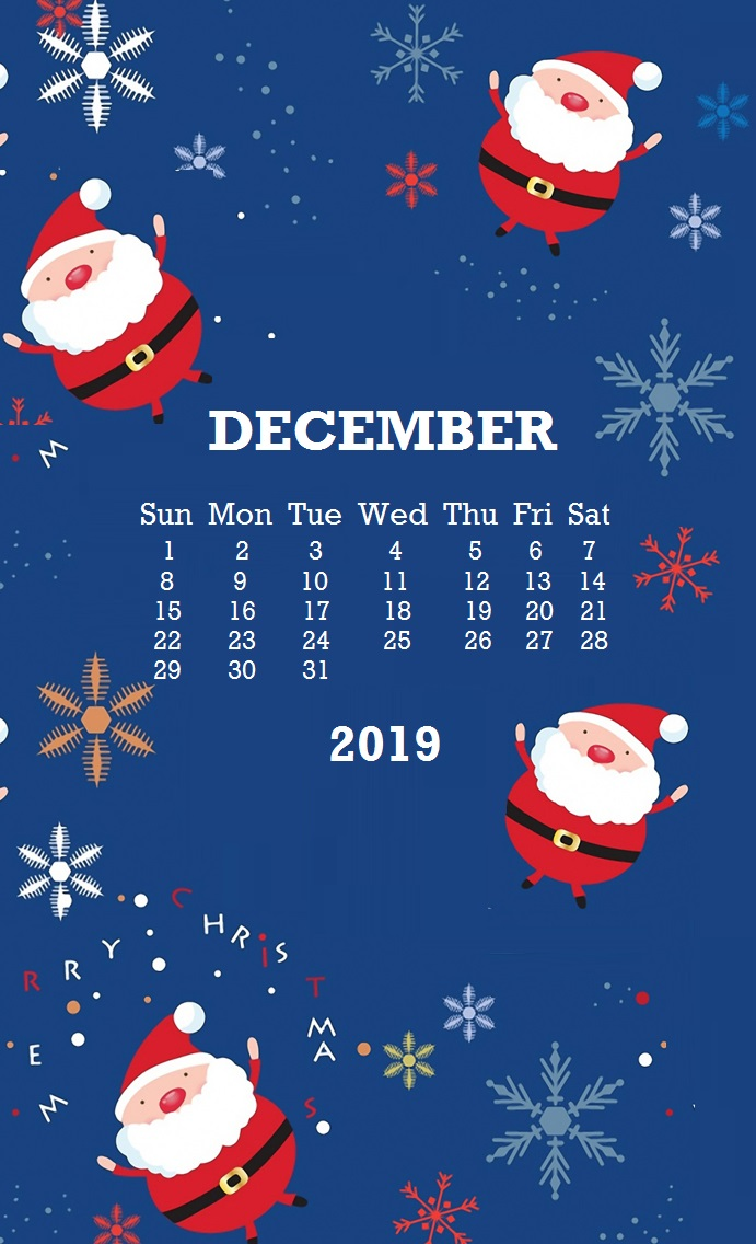 2019 December iPhone Calendar Wallpaper