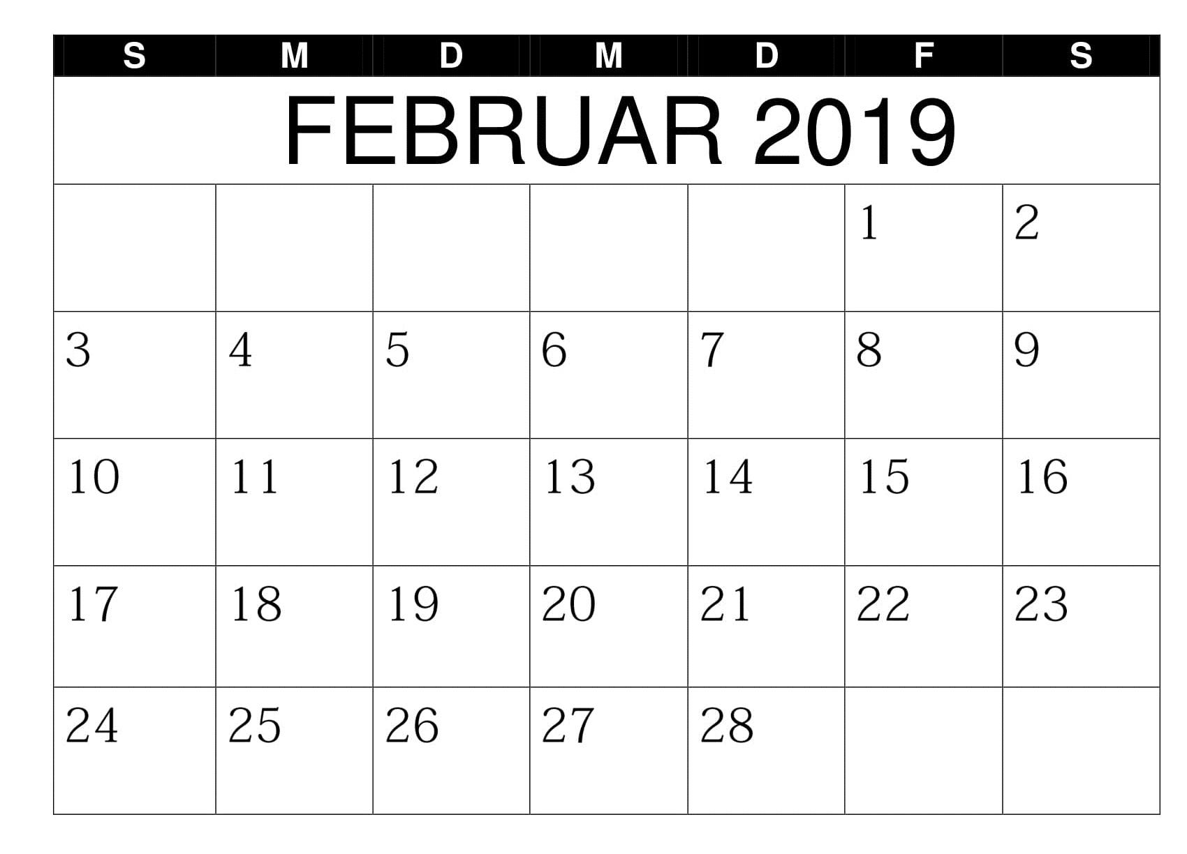 2019 Februar Blatt Kalender