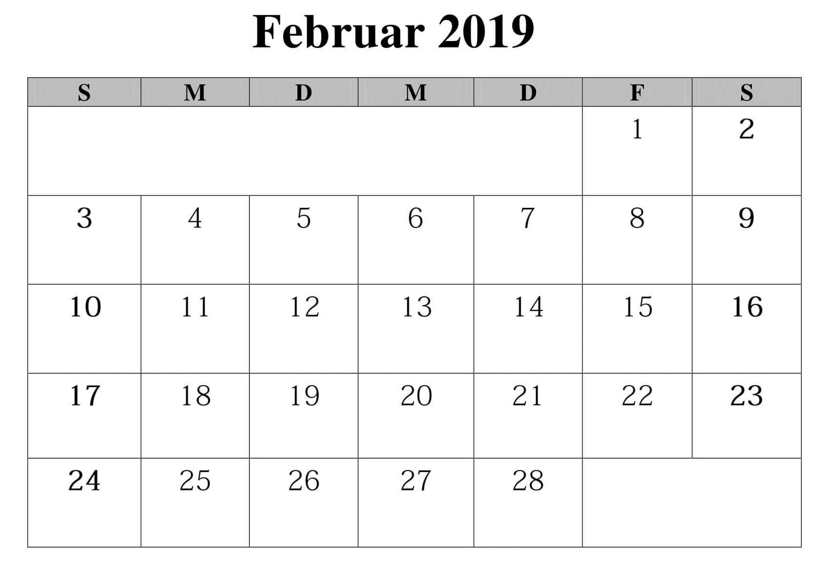 2019 Februar Kalender Stile