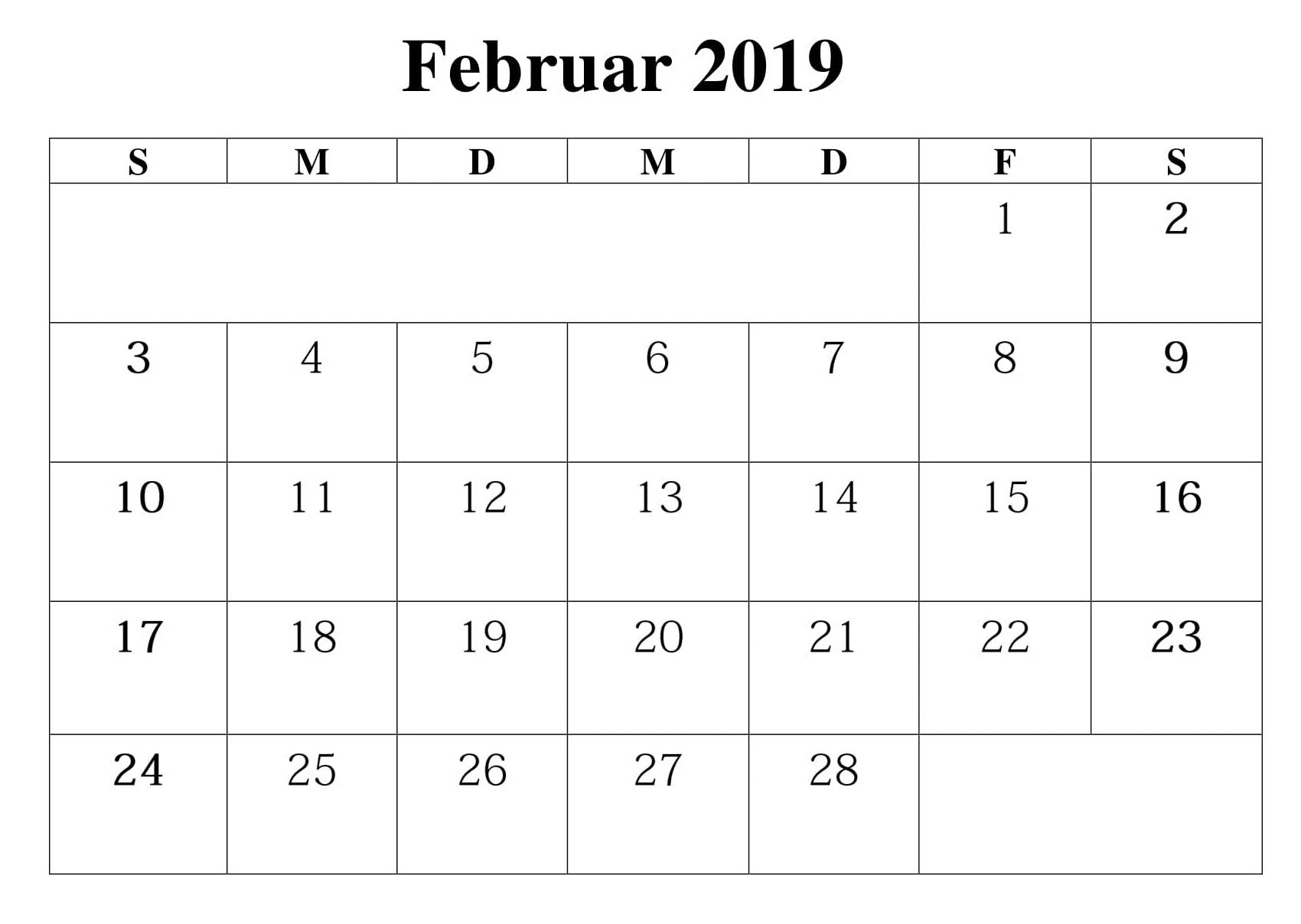 2019 Februar Zeitlpan Kalender