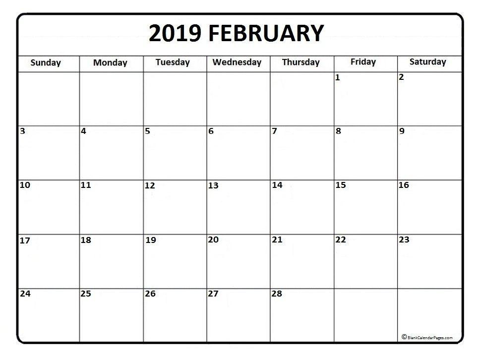2019 February Calendar PDF