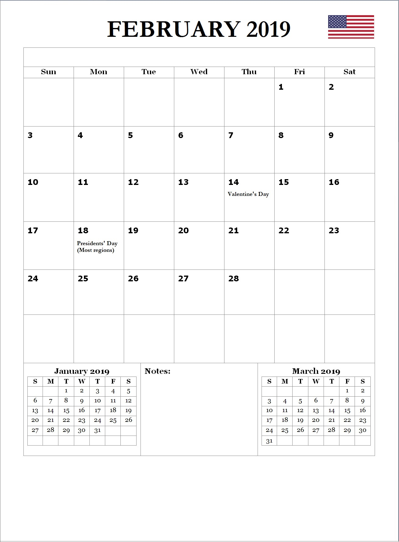 2019 February USA Holidays Calendar