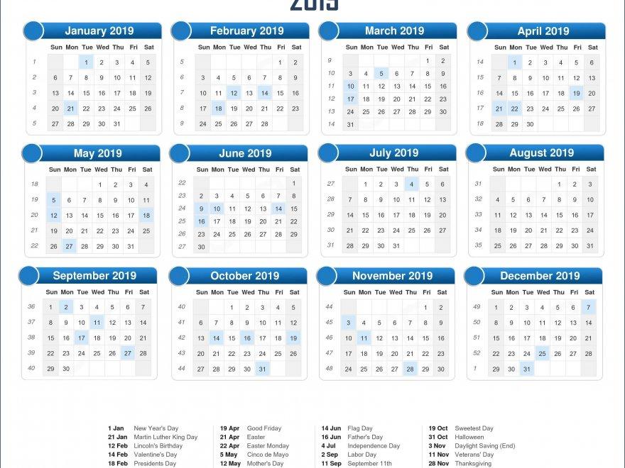 2019 Holidays Calendar Template