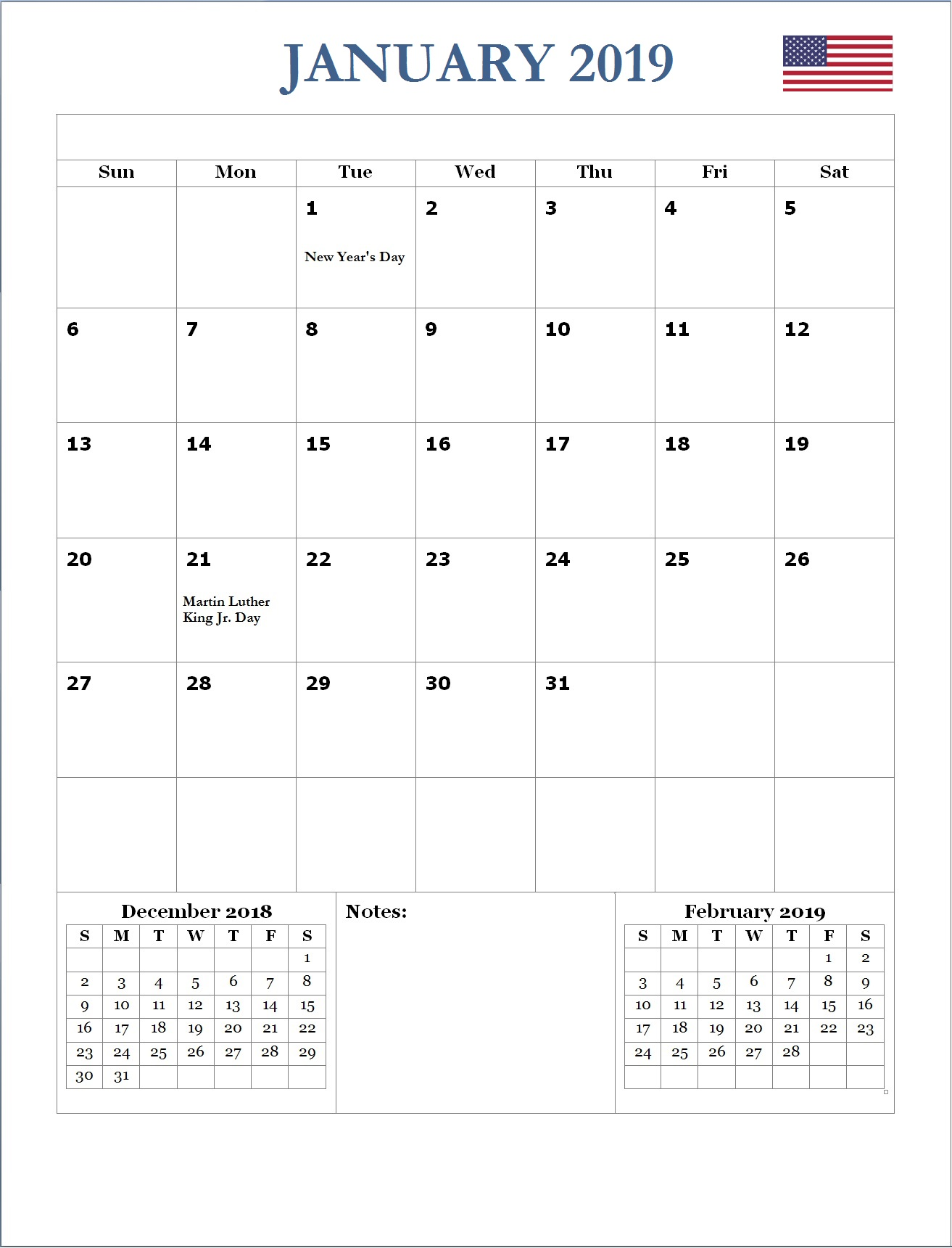 2019 January USA Holidays Calendar