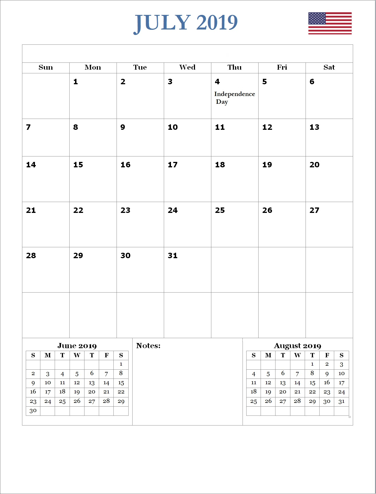 2019 July USA Holidays Calendar