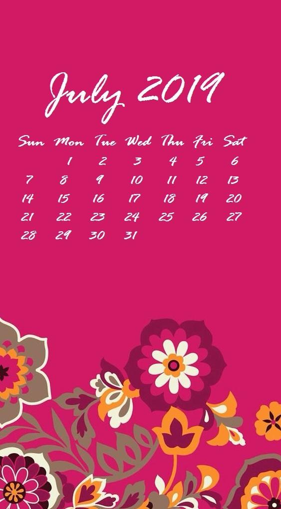 2019 July iPhone Calendar Wallpaper