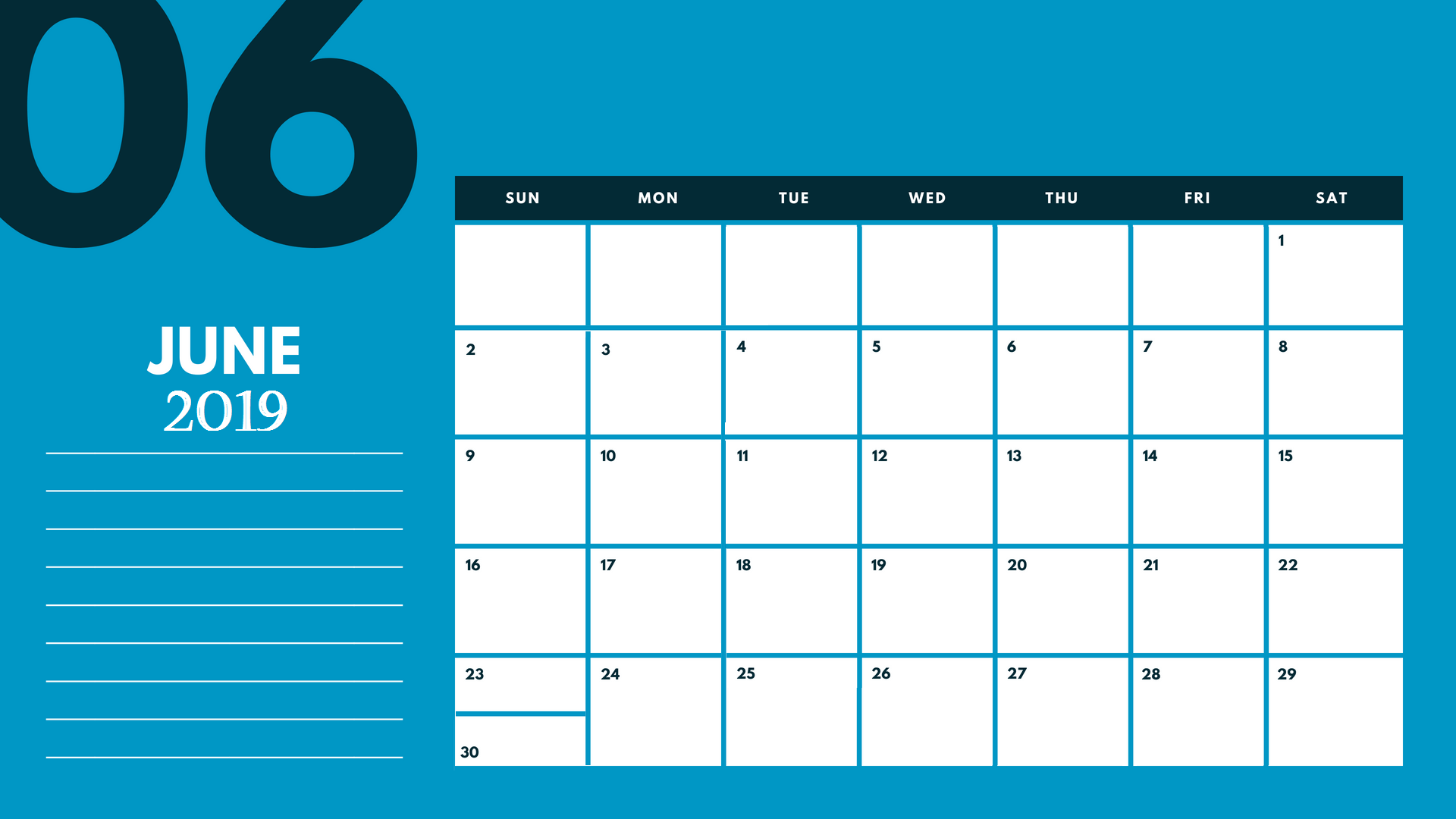 2019 June Calendar Template