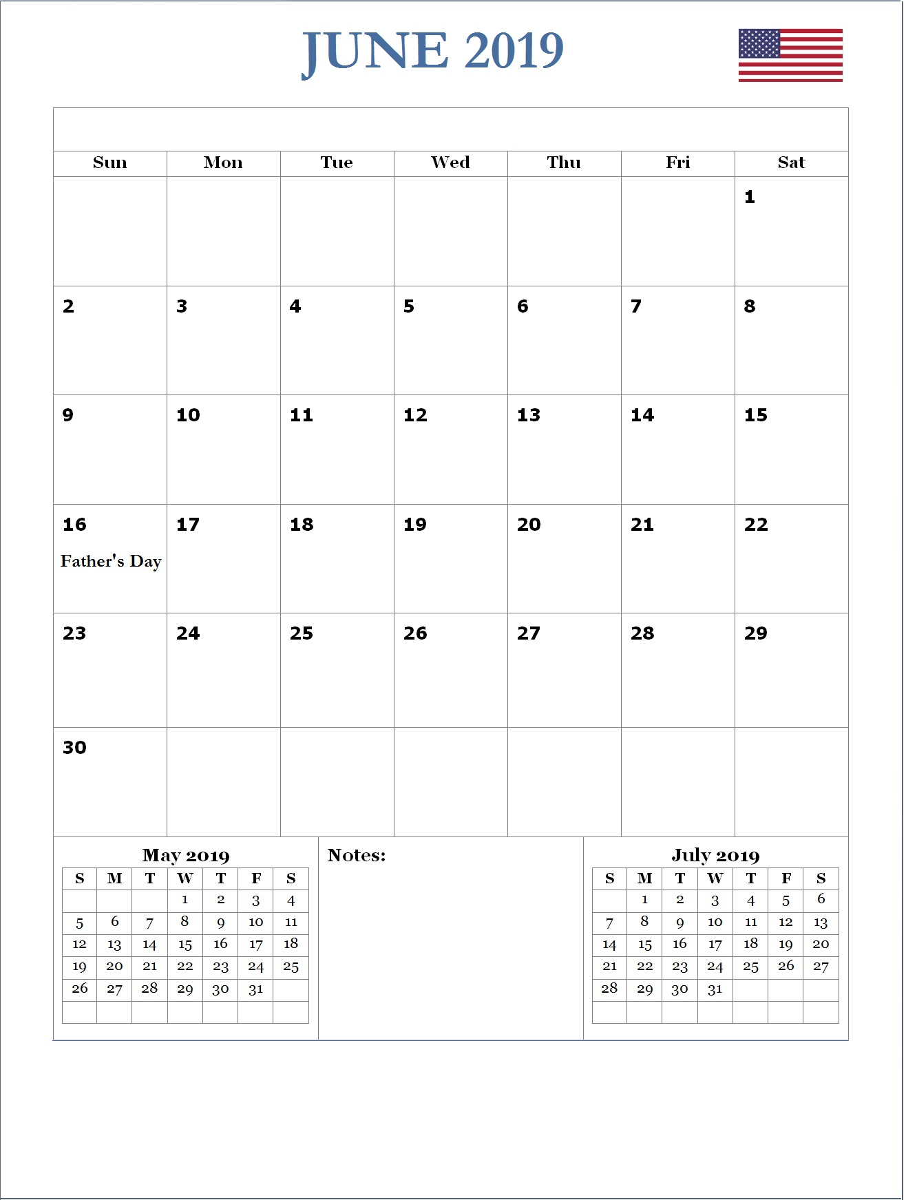 2019 June USA Holidays Calendar
