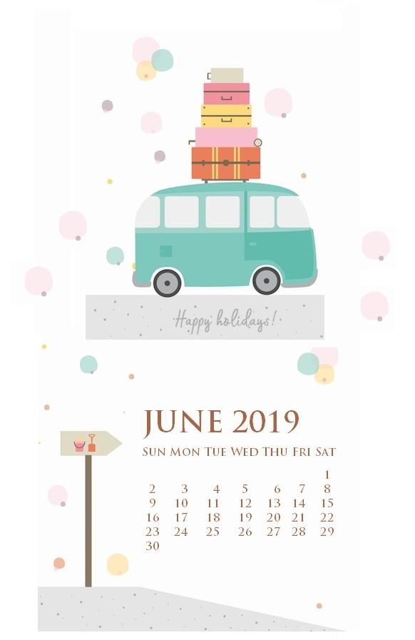2019 June iPhone Calendar Wallpaper