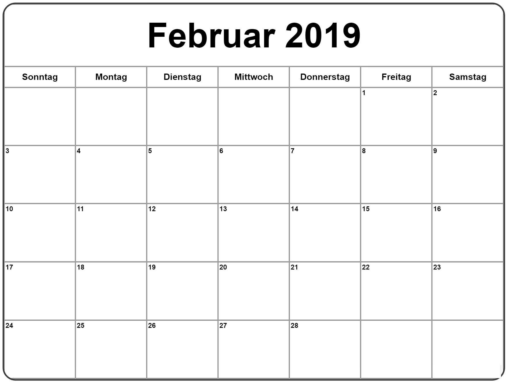 2019 Kalendar Februar Fur Das Geschaft