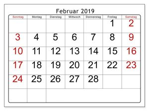 2019 Kalender Februar PDF