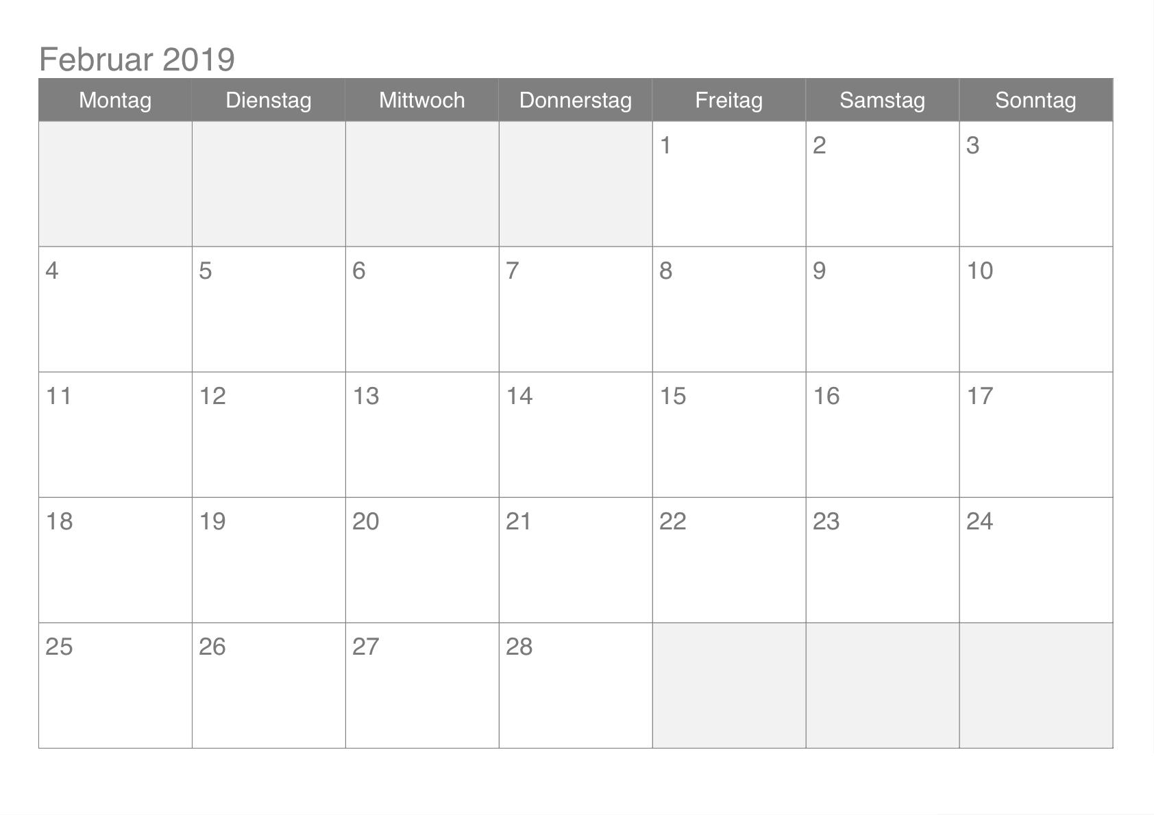2019 Kalender Februar Vorlage