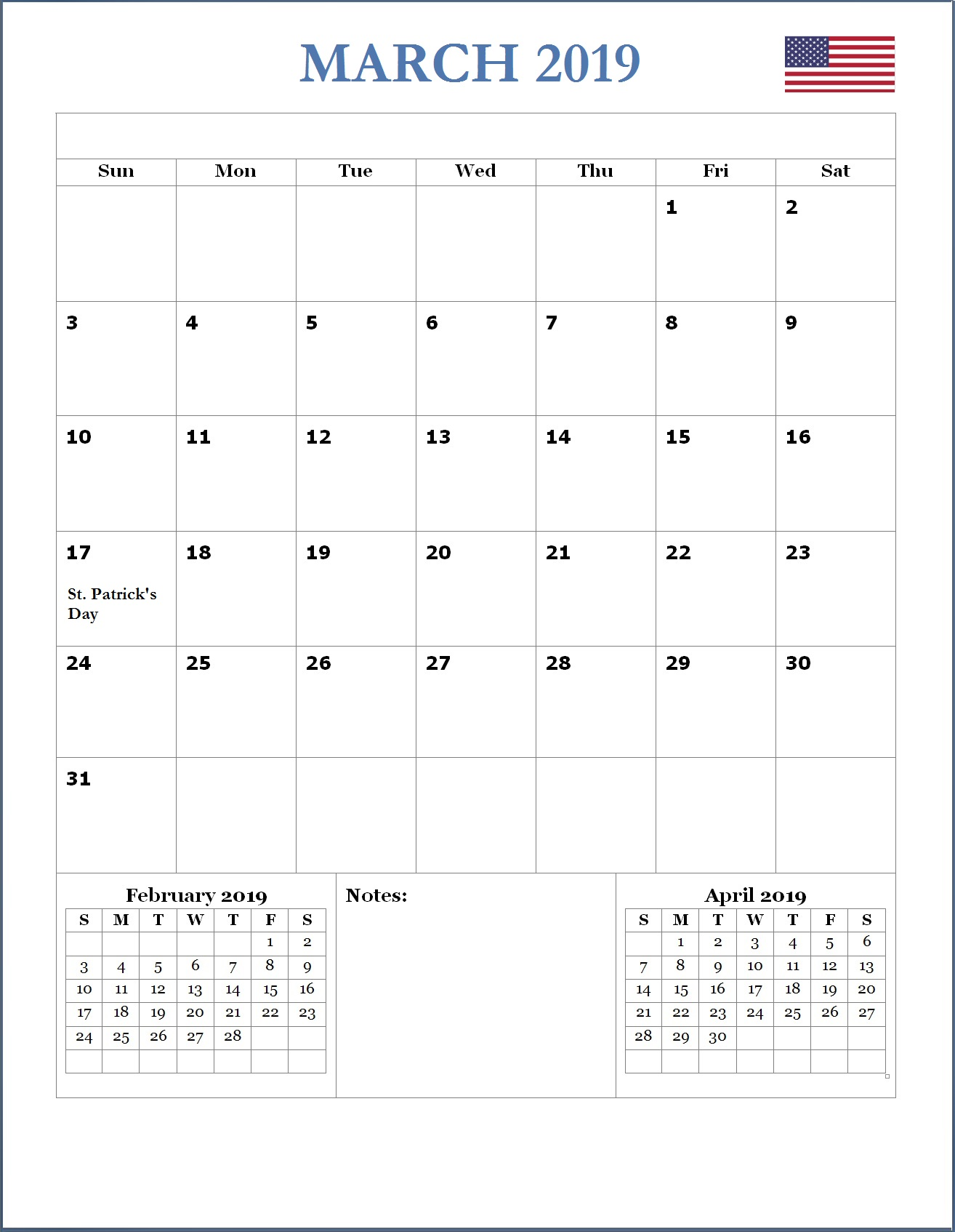 2019 March USA Holidays Calendar