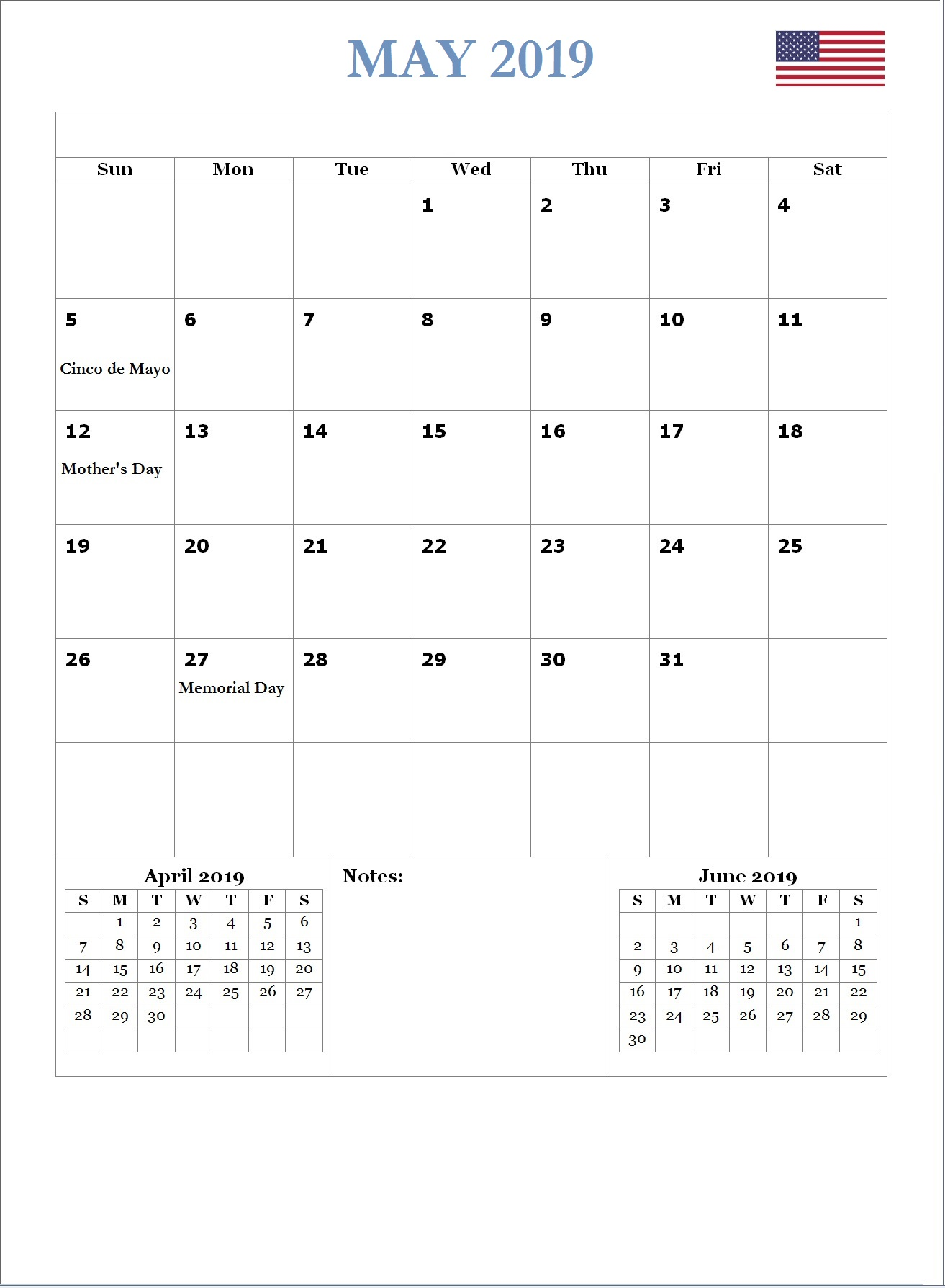 2019 May USA Holidays Calendar