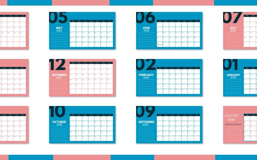 2019 Monthly Calendar Template