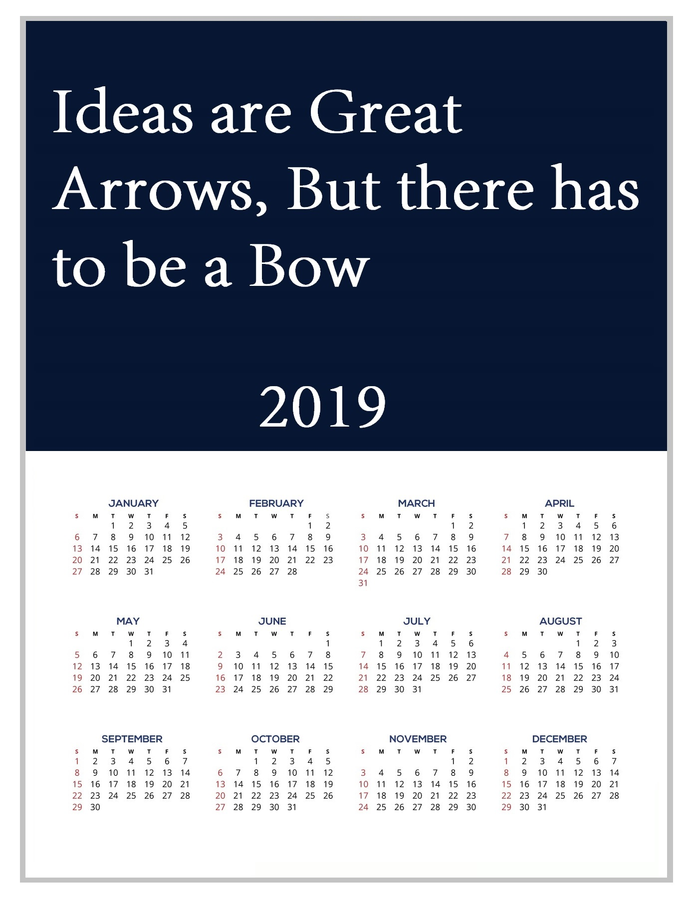 2019 Monthly Motivational Wall Calendar