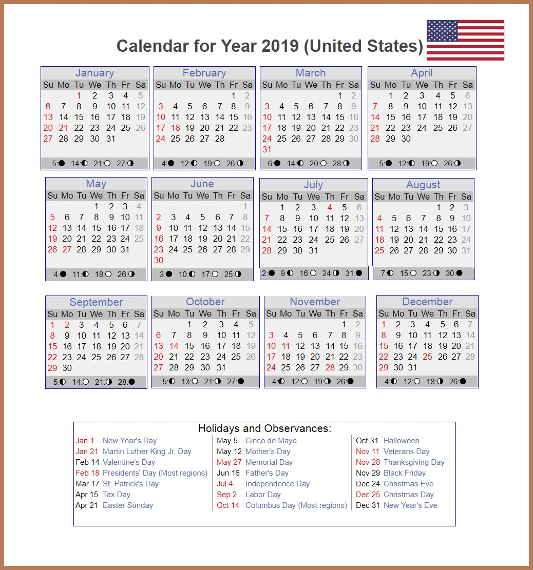 2019 Monthly USA Holidays Calendar