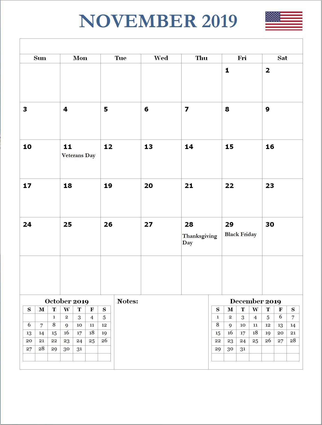 2019 November USA Holidays Calendar