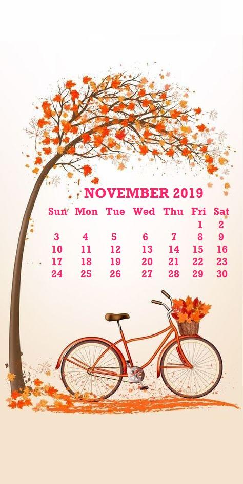 2019 November iPhone Calendar Wallpaper