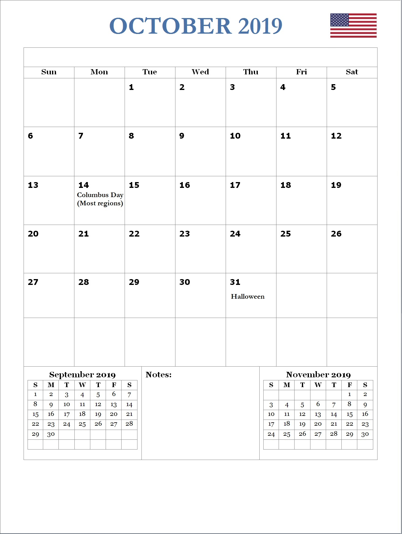 2019 October USA Holidays Calendar