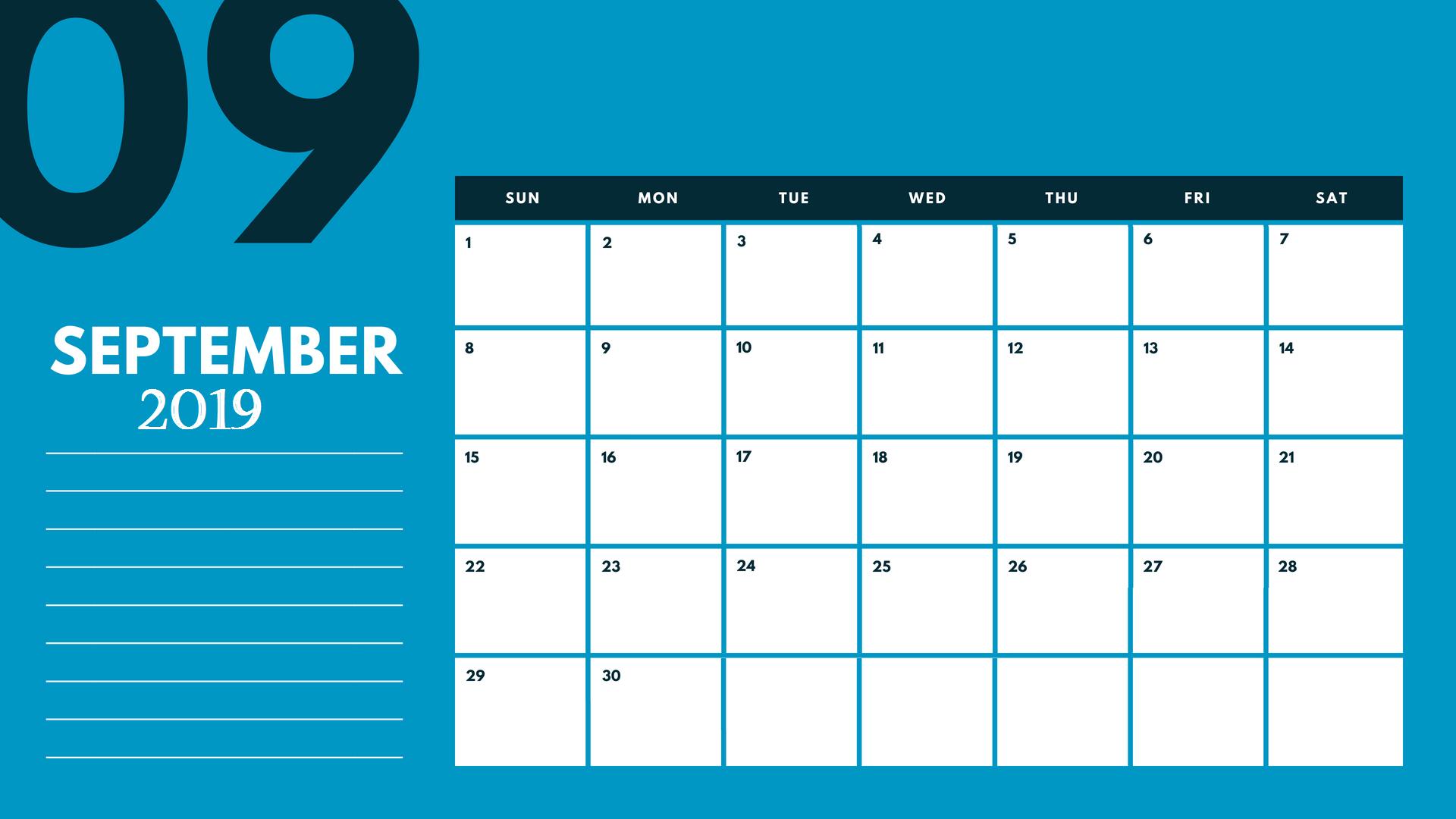 2019 September Calendar Template