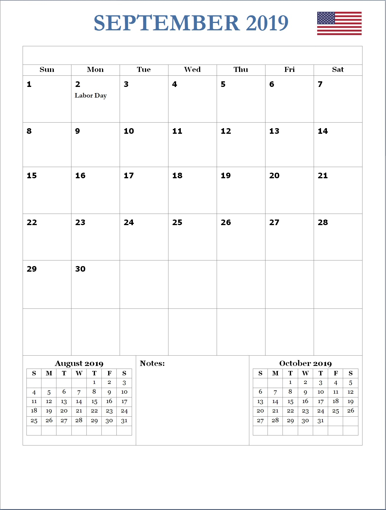 2019 September USA Holidays Calendar