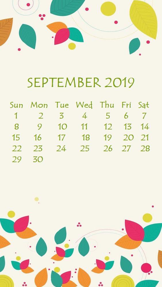 2019 September iPhone Calendar Wallpaper
