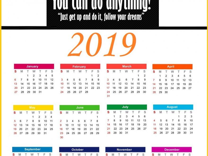 2019 Yearly Inspiring Calendar Template