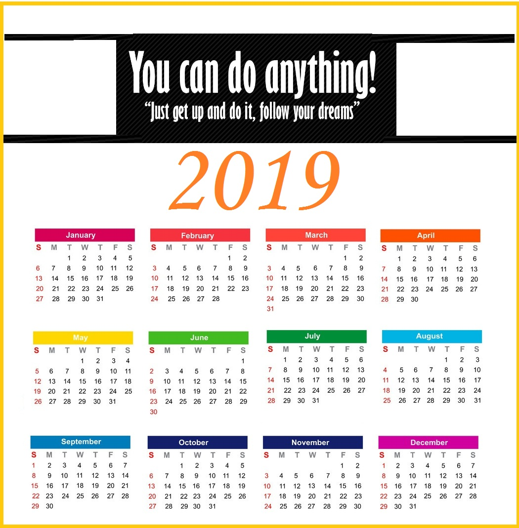 2019 Yearly Inspiring Calendar Template