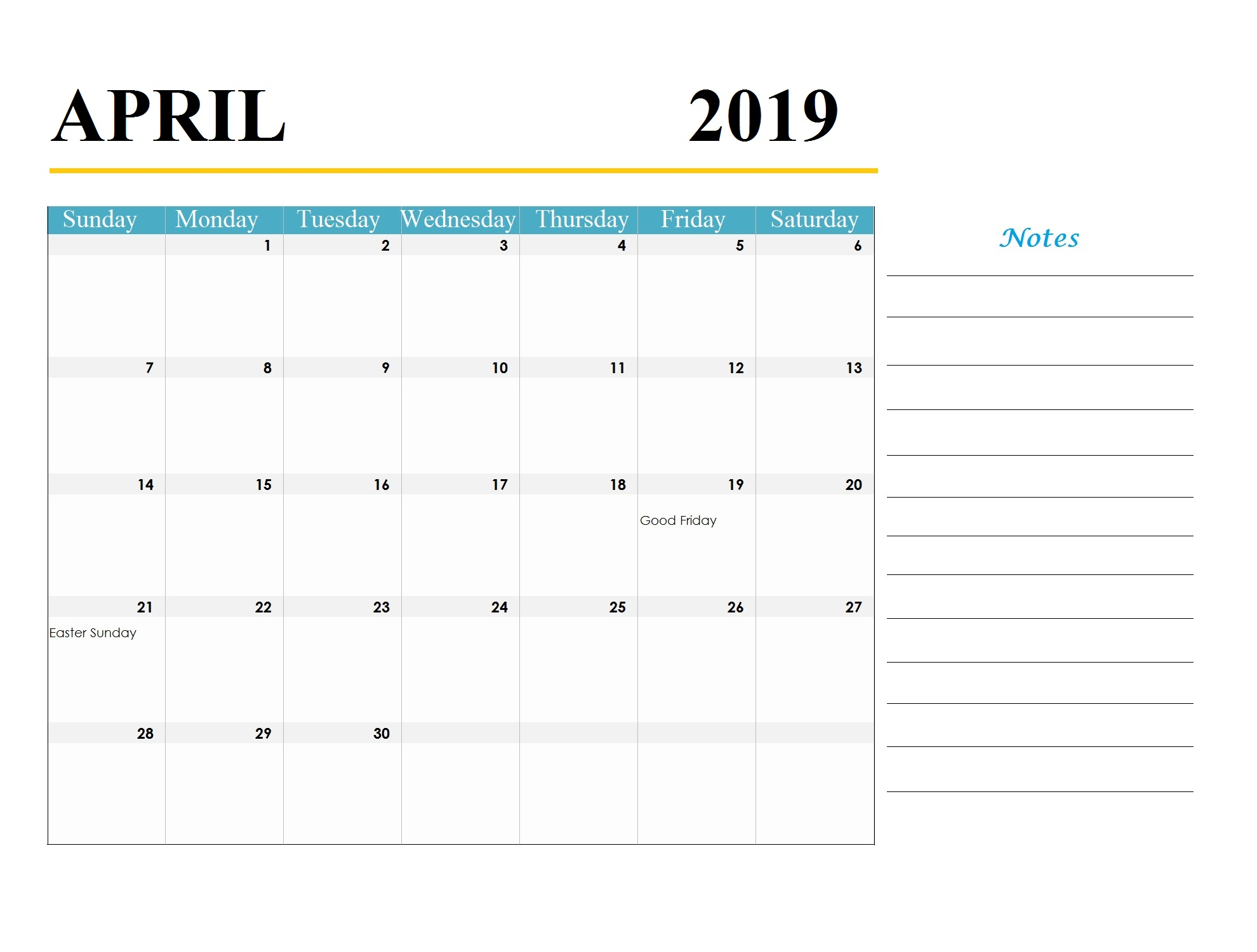 April 2019 Holidays Calendar Template