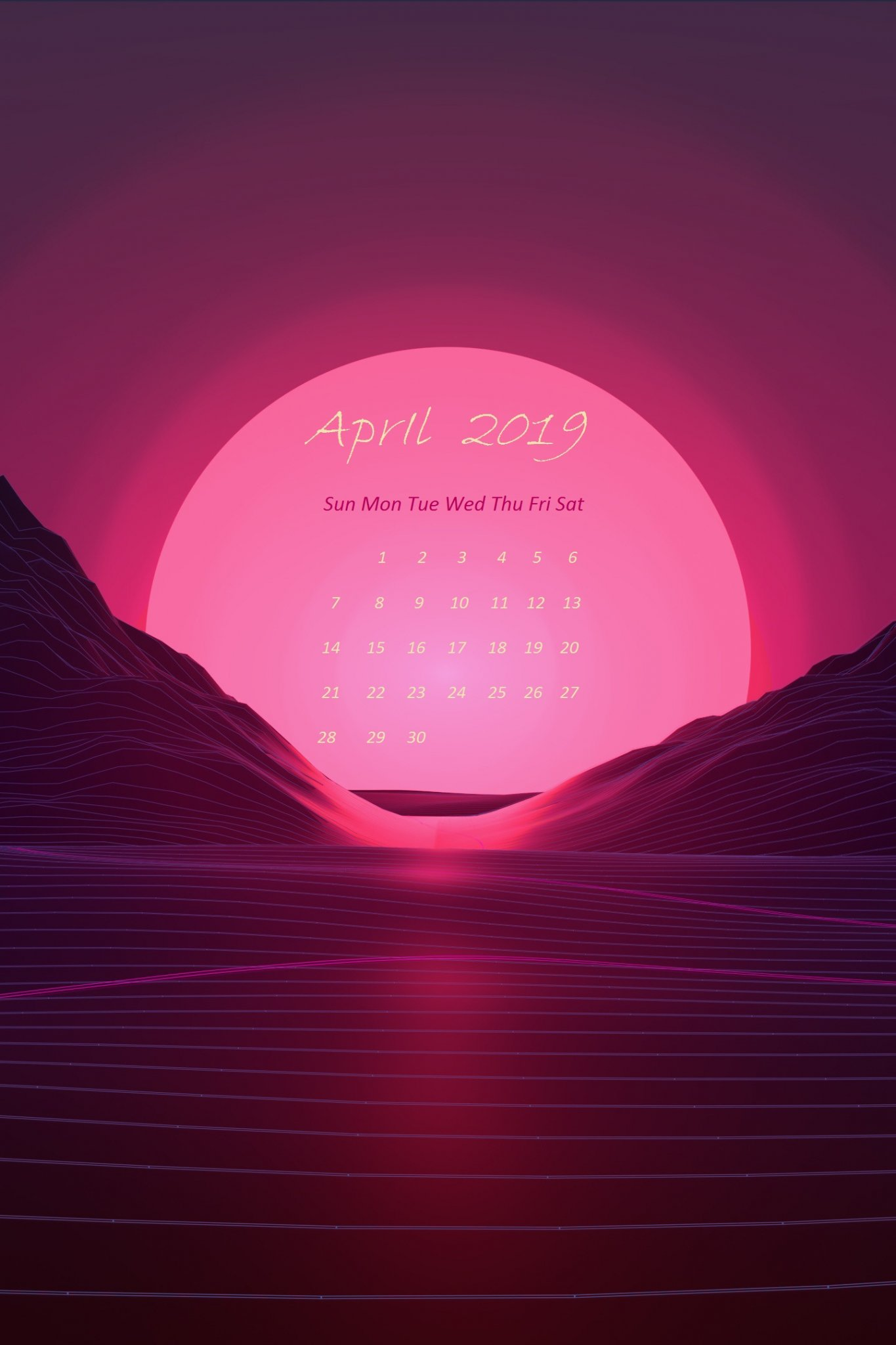 April 2019 Pink Beautifull Moon iPhone Calendar Wallpaper