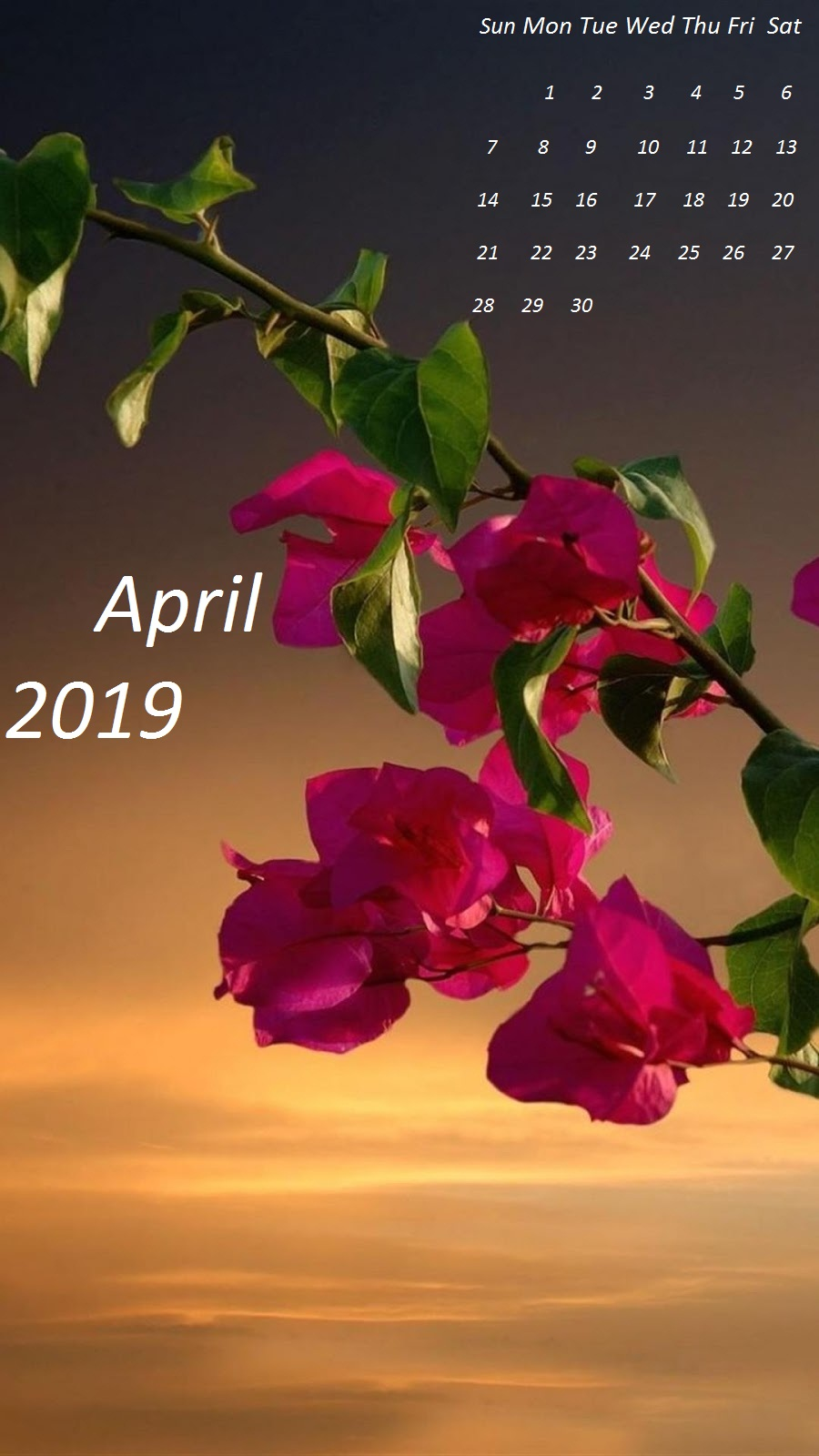 April 2019 simple iPhone Wallpaper Calendar