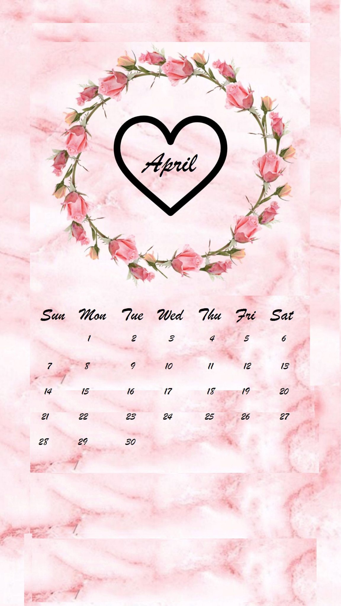 April 2019 flower heart iPhone Calendar wallpaper
