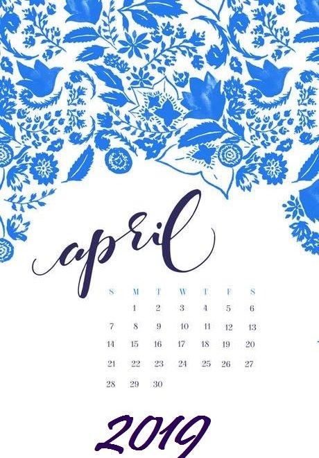 April 2019 simple iPhone Wallpaper Calendar