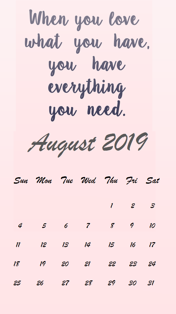 August 2019 Background wallpaper Calendar