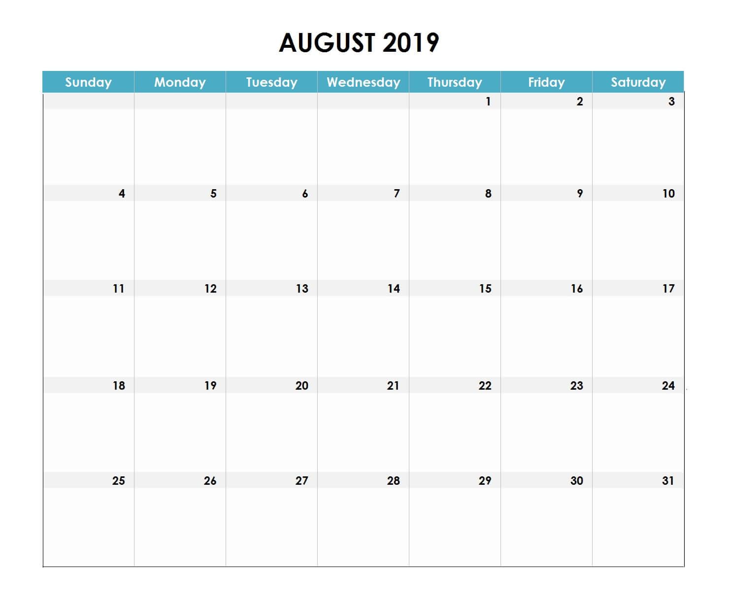 August 2019 Excel Calendar