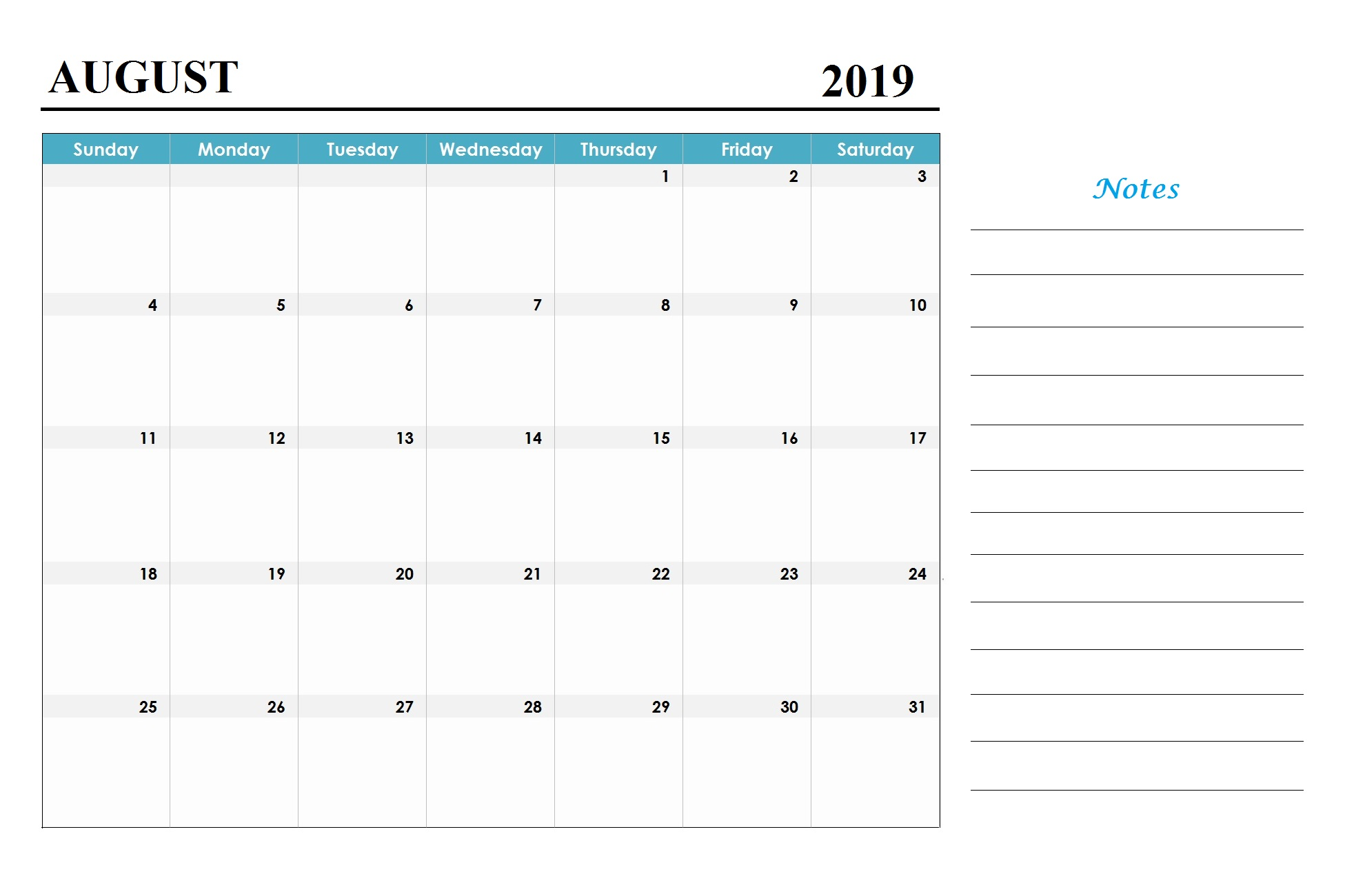 August 2019 Holidays Calendar Template