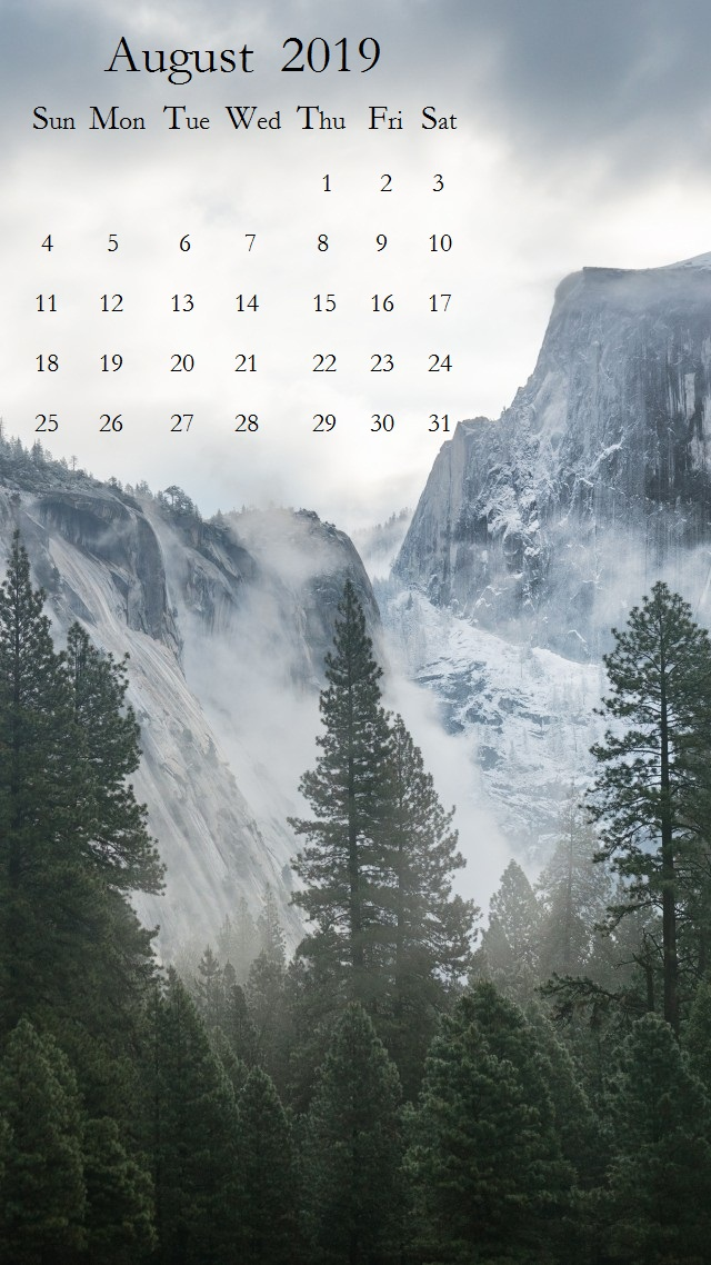 Beautiful Scenery August 2019 iPhone Calendar Copy