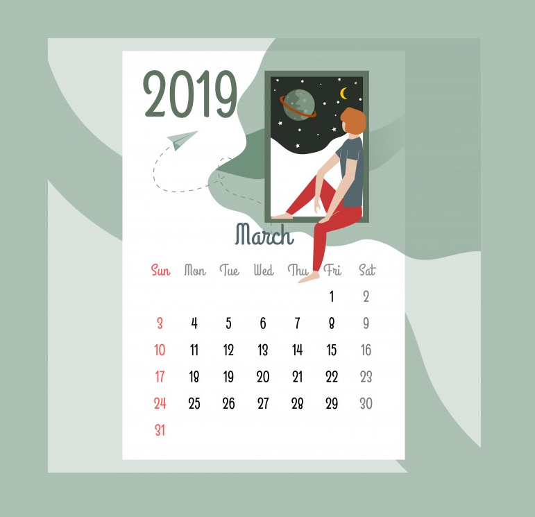 Best March 2019 Desk Calendar Design