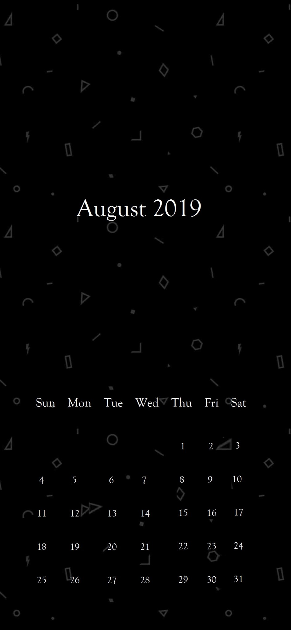 Black Background August 2019 iPhone Wallpaper