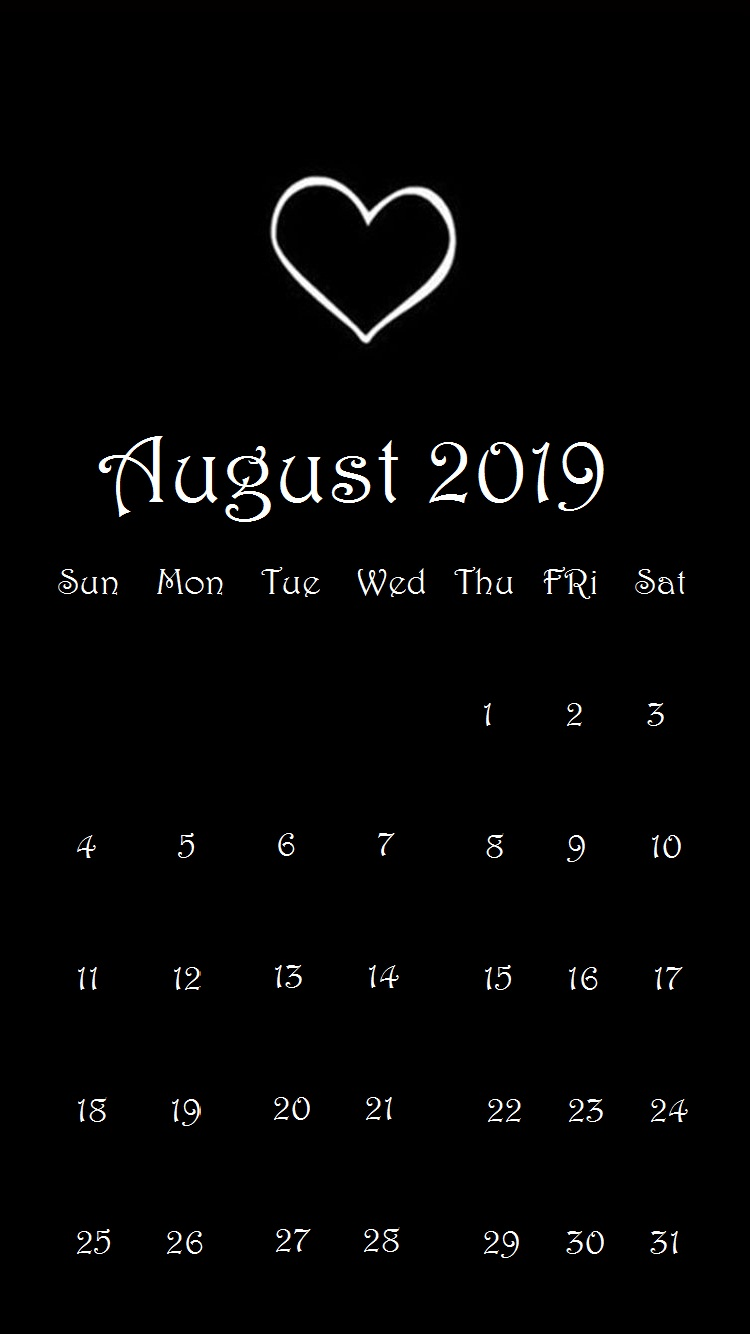 Black Heart August 2019 Smartphone Calendar